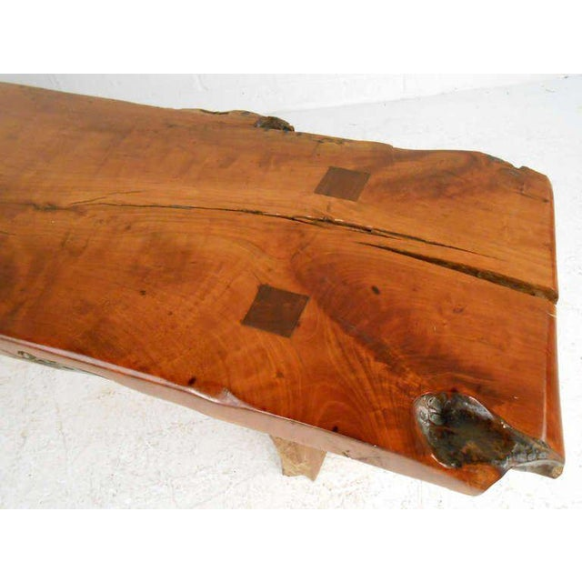 Brown Rustic Wood Slab Coffee Table For Sale - Image 8 of 8