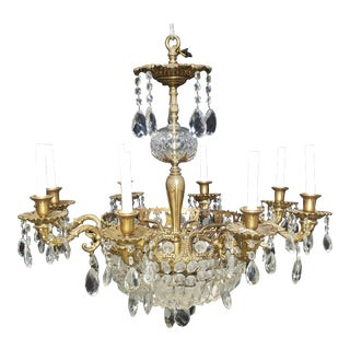 Very Fine Antique French 1920s Brass & Crystal 8 Light Chandelier For Sale