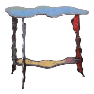 Signed Cindy Wynn Industrial Postmodern Forged Metal Console Table For Sale