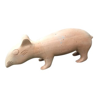 Hand Carved Wooden Animal Rat Figurine For Sale
