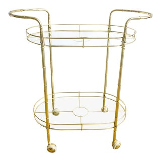 Vintage Faux Bamboo Oval Brass Bar Cart For Sale