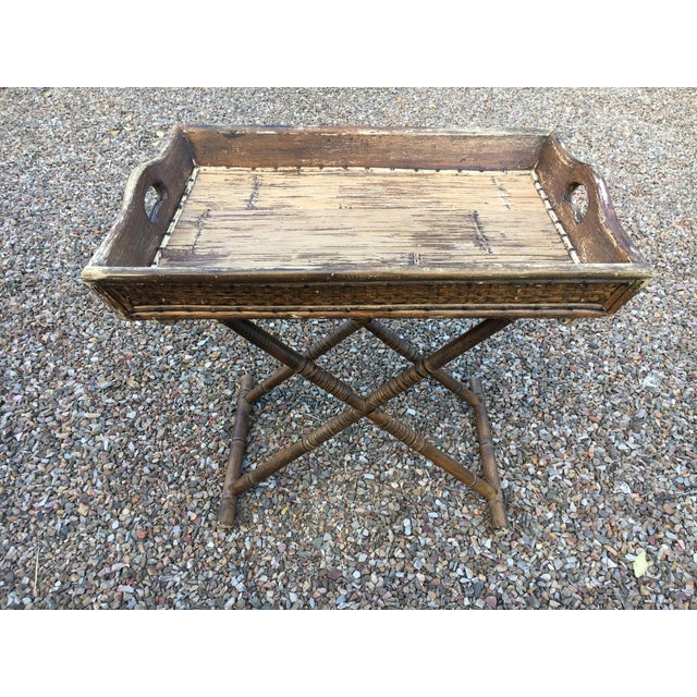 Americana 1950s Boho Chic Tray Table With Folding Base For Sale - Image 3 of 10