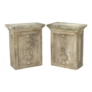 English Garden Stone Pedestals or Planter Plinths - a Pair For Sale