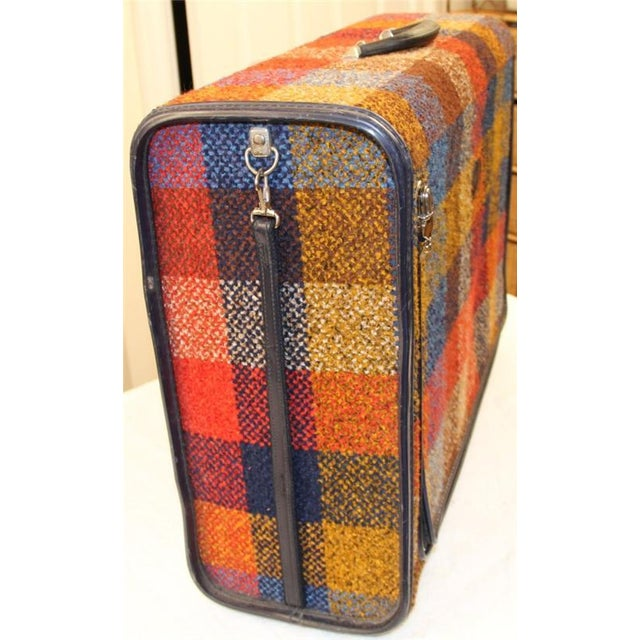 Vintage Bright Chenille Skyway Suitcase - Image 10 of 10