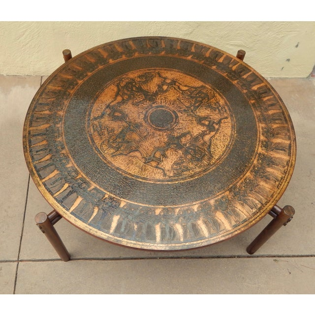 Egyptian Theme Stamped Copper Coffee Table Ca 1970 - Image 2 of 7