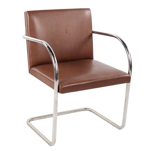 1960s Mid-Century Modern Brno Knoll International Tubular Chrome and Naugahyde Arm Chair For Sale