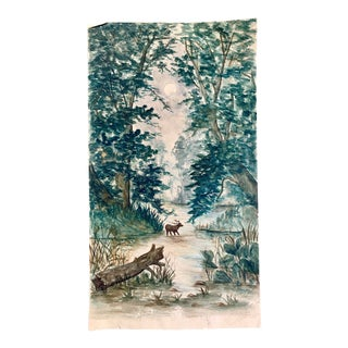 1930s Watercolor Forest Scene, Original Art For Sale