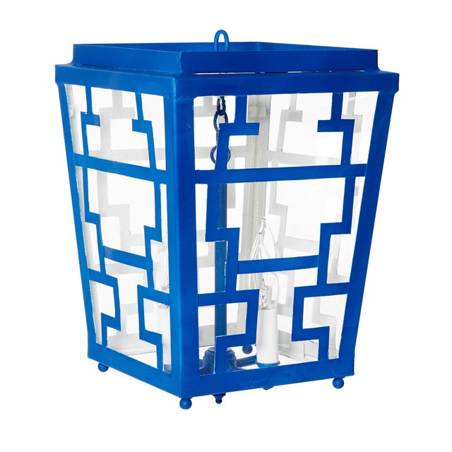 Add a whimsical touch of Chinoiserie to your home with our Hand Painted Chinese Fretwork Pendant Chandelier in Royal Blue....