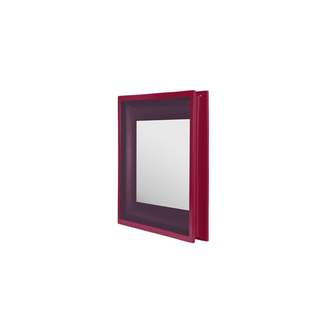 Jeffrey Bilhuber Collection Square Floating Mirror in Eggplant / Chinaberry Crimson For Sale