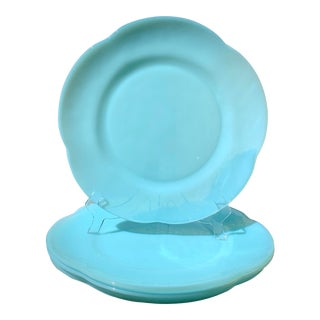 Blue Opaline Glass Chargers - Set of 4 For Sale