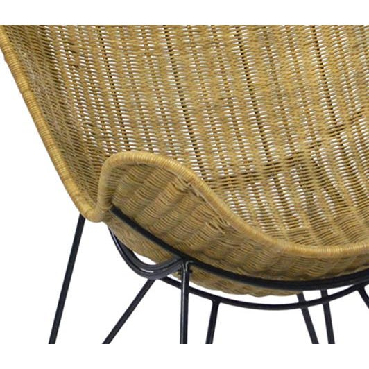 Woven rattan scoop chair with matte black iron frame. This chair is great indoors or outdoors in a protected area.