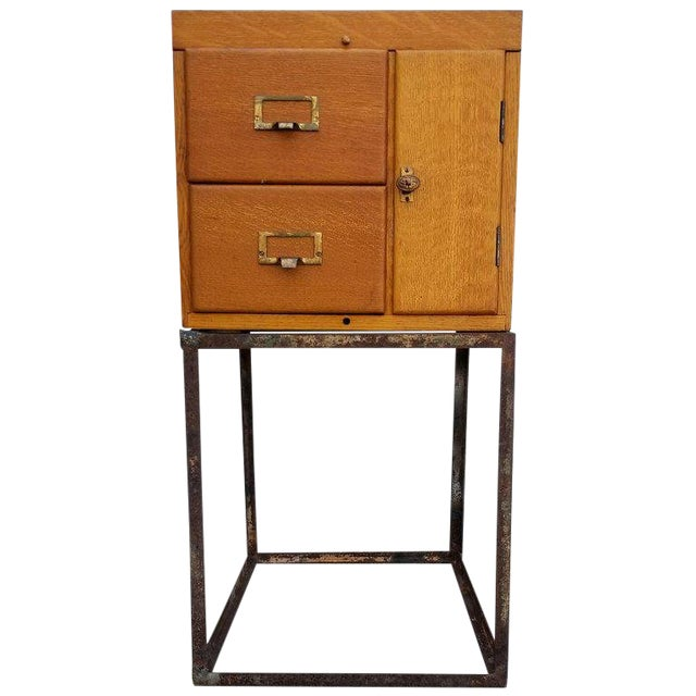 Custom Antique File Cabinet With Steel Base - Custom Antique File Cabinet With Steel Base Chairish