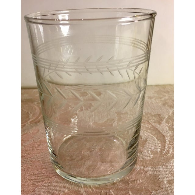 Mid-Century Etched Glass Juice Glasses - Set of 6 For Sale - Image 5 of 9