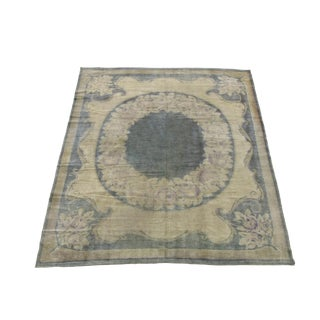 Early 20th Century Antique Spanish Wool Area Rug - 8′ × 9′5″ For Sale