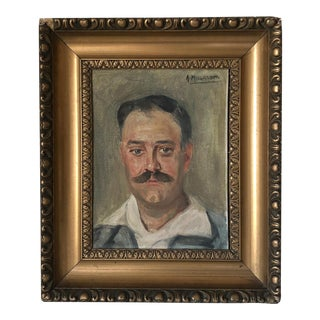 1960s Vintage French Gentleman Oil Portrait Painting For Sale