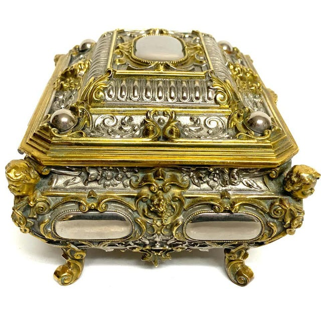 Metal Silvered Bronze and Ormolu Jewelry/Table Box For Sale - Image 7 of 12