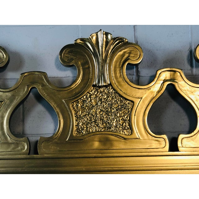 Hollywood Regency Style Gold King Size Headboard For Sale - Image 11 of 12