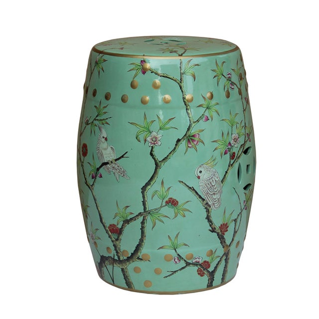 Handmade Pastel Blue Green Porcelain Bird Flower Round Stool Ottoman For Sale - Image 4 of 7