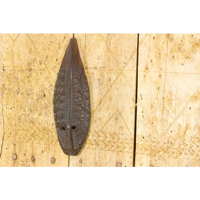 19th Century Tribal Carved Tear Drop Mask For Sale - Image 5 of 8