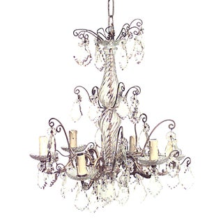 French Louis XV Style Bronze and Crystal Six-Scroll Arm Chandelier For Sale