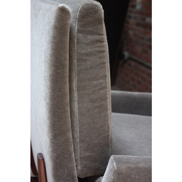 Early Jens Risom Walnut and Mohair Lounge Chair For Sale In New York - Image 6 of 9
