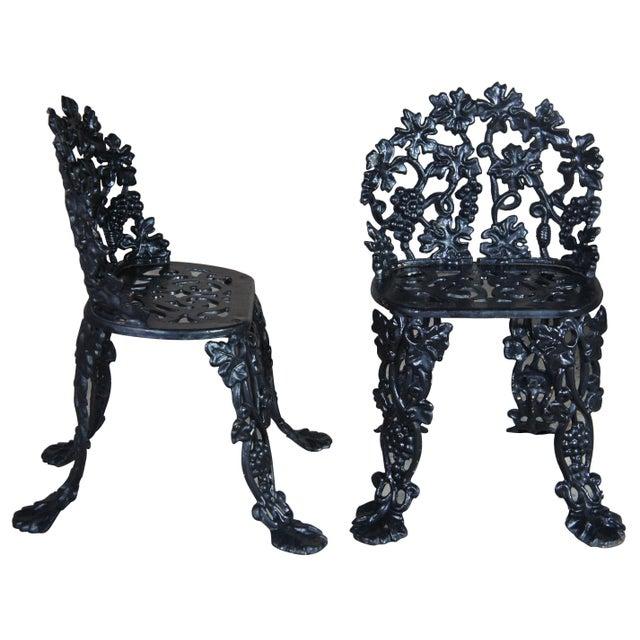 Victorian Antique Victorian Cast Iron Grape Vine Garden Furniture-Set Of 3 For Sale - Image 3 of 11