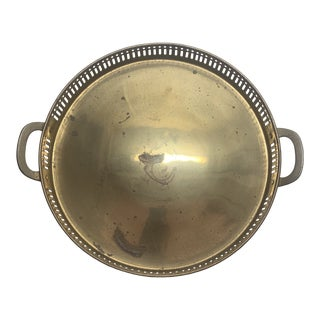 Vintage Round Brass Tray With Handles and Raised Edge For Sale