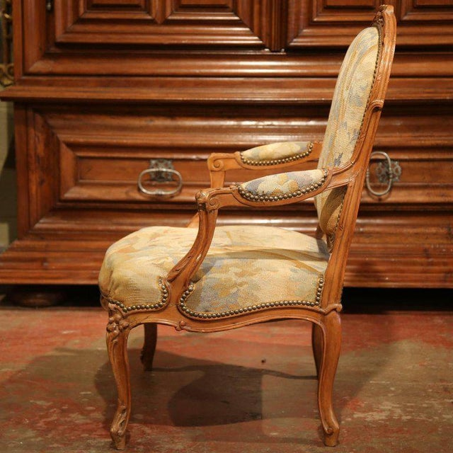 19th Century French Louis XV Carved Walnut Armchair With Aubusson Tapestry For Sale - Image 4 of 11