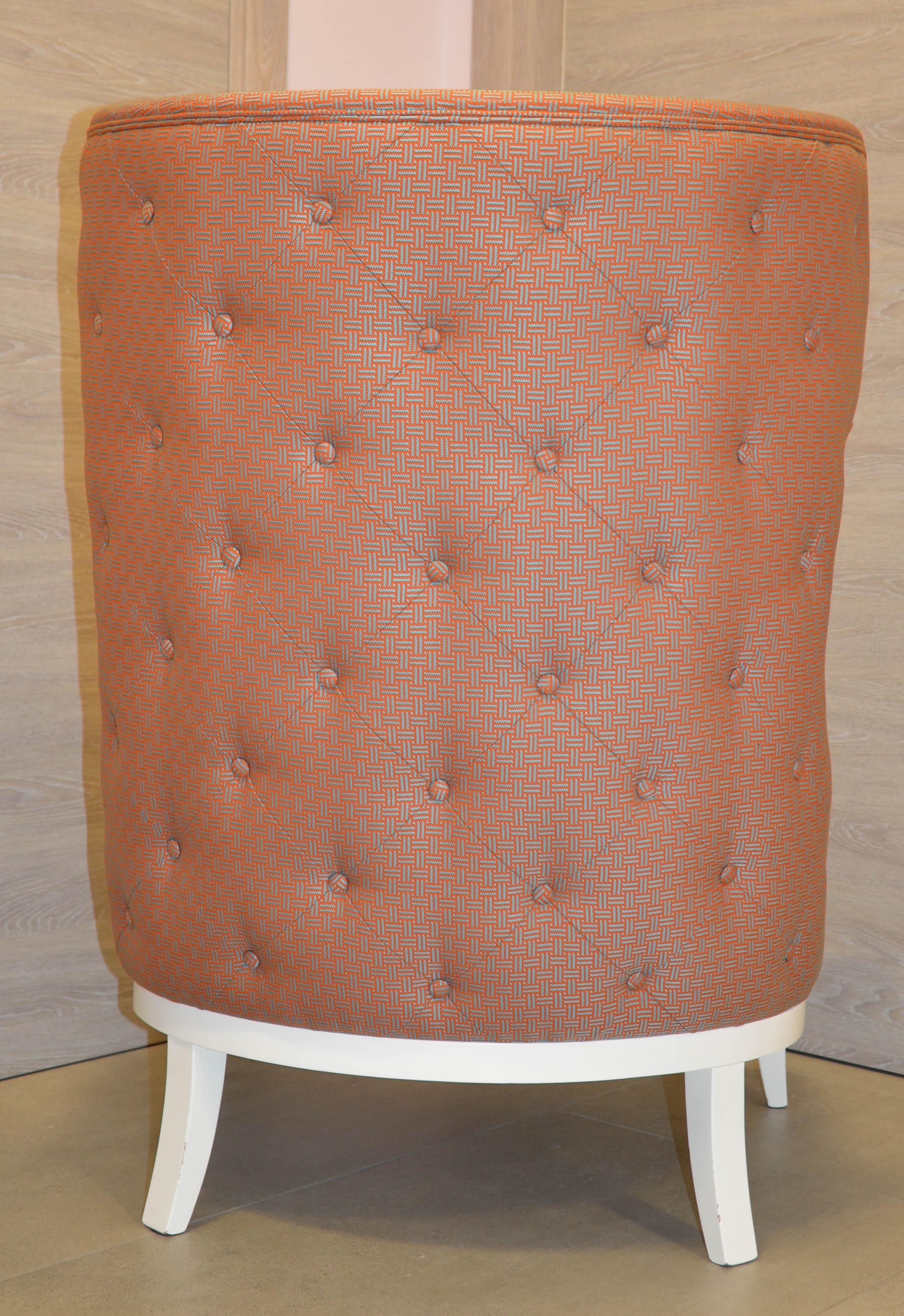 Mid Century Italian Dedar Crossing Fabric Upholstered Wingback Chair For  Sale   Image 4