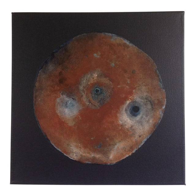 Abstract Rust Brown Black and Blue Turquoise Moon Painting For Sale
