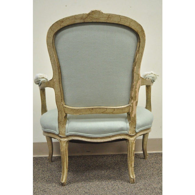 Vintage French Louis XV Style Distress Paint Carved Bergere Chair - Image 10 of 11