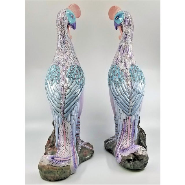 Toyo Extra-Large Chinese Porcelain Ceramic Phoenix Bird Sculptures or Figurines - a Pair For Sale - Image 4 of 13