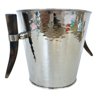 Contemporary & Modern Hammered Silver Plate Horn Handle Champagne Bucket