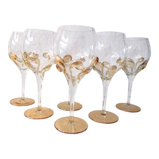 Ion Tamain Abstract Amber Blown Glass Goblets - Set of 6 For Sale
