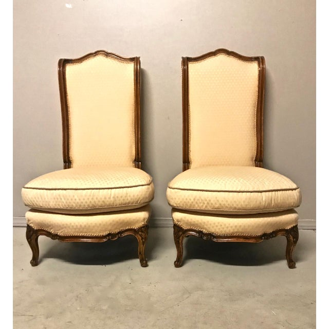 Wood Louis XV-Stye Slipper Chairs or Chauffeuses - a Pair For Sale - Image 7 of 8