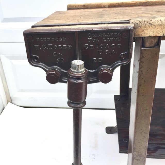 Vintage Industrial Workbench With Table Vise For Sale - Image 4 of 10