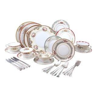 Vintage Mismatched Luncheon Set - Fine China & Silver Flatware