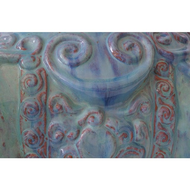 Blue Mid-Century Elephant Figure Garden Stool or Drinks Table Blue Glazed Terra Cotta From Italy For Sale - Image 8 of 11