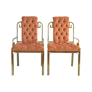 Mastercraft Brass Greek Key Armchairs - a Pair