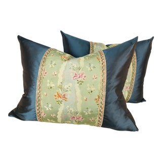 Vintage Scalamandre Silk Brocade Pillows - A Pair For Sale