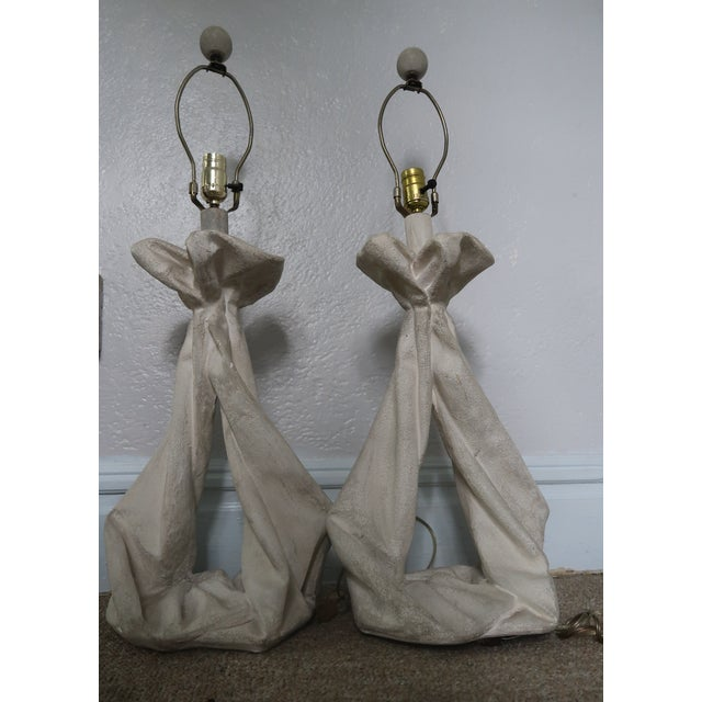 John Dickinson or Serge Roche Style Plaster Drapery Lamps- a Pair For Sale - Image 11 of 11