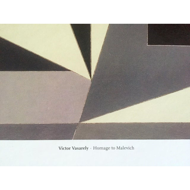"""Black Vintage Victor Vasarely Op Art Modernist Geometric Lithograph Print """" Homage to Malevich """" 1953 For Sale - Image 8 of 12"""