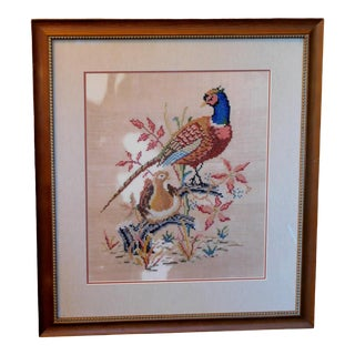 Late 20th Century Embroidered Needlepoint of a Pheasant, Framed For Sale