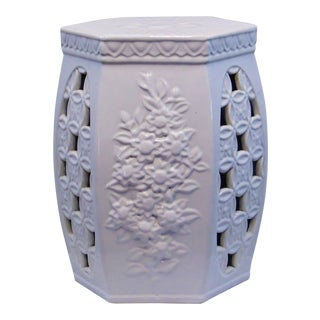 Chinese White Porcelian Garden Stool For Sale