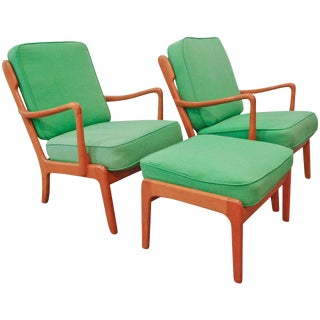 Peter Hvidt and Orla Mølgaard-Nielsen Lounge Chairs & Ottoman - Set of 3