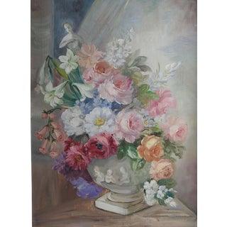 C. 1950 Pink Roses Still Life Painting