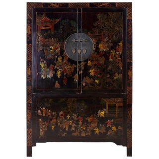 Chinese Qing Style Lacquered Wedding Cabinet Chest For Sale