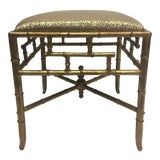 Image of 1960s Vintage Gilt Iron Faux Bamboo Ottoman Bench For Sale