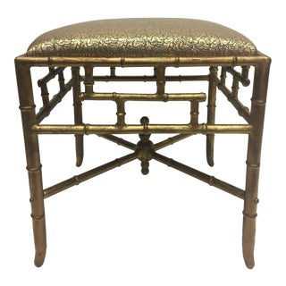 1960s Vintage Gilt Iron Faux Bamboo Ottoman Bench For Sale