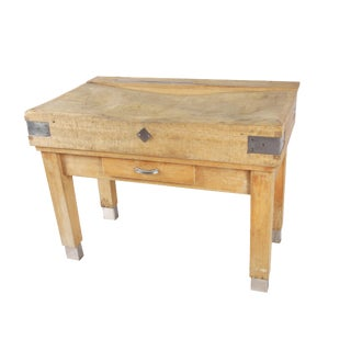 1900 Antique French Butcher Block Table